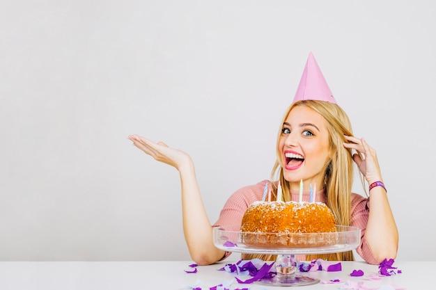 Happy Woman With Birthday Cake Free Photo