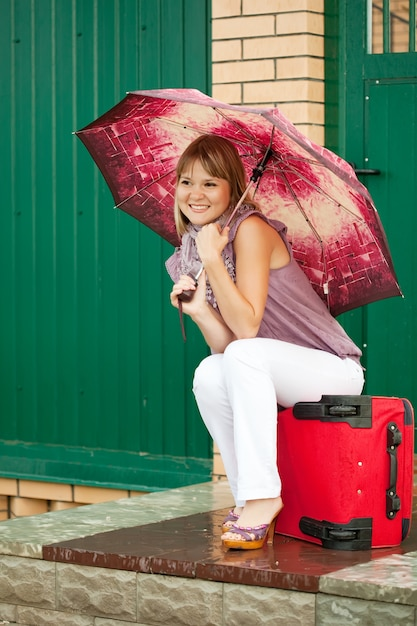 Happy woman with luggage Free Photo