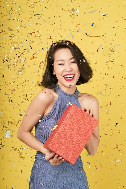 Happy woman with present Free Photo