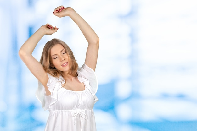 Happy woman with stretched arms Premium Photo