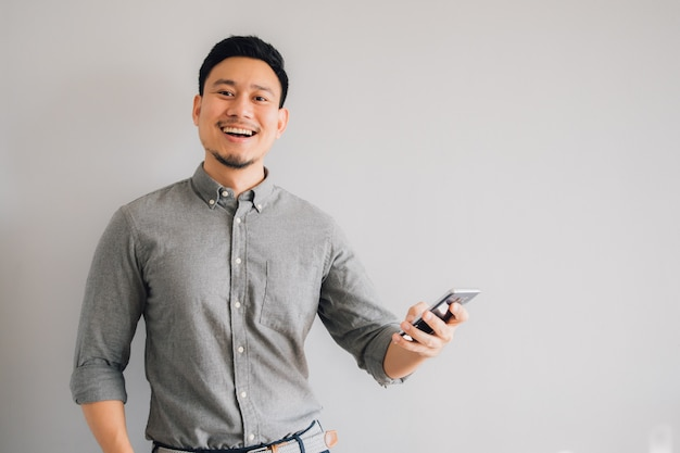 Happy and wow face of asian man Premium Photo