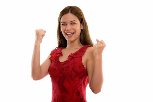 見ながら笑って幸せな若い美しい女性 Premium写真