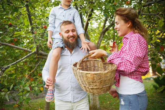 Happy young family during picking berries in a garden outdoors. love, family, lifestyle, harvest, autumn concept. cheerful, healthy and lovely. Free Photo