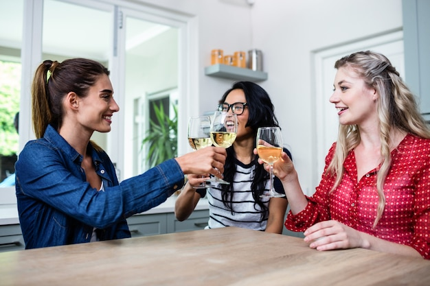 Happy young female friends toasting wineglass Premium Photo