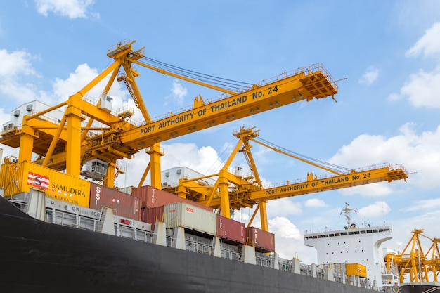 Harbor for logistic import export background  Photo