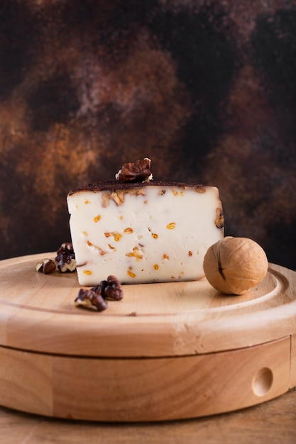 Hard cheese with nuts  platter Free Photo