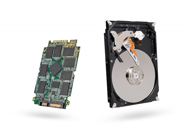 Hard disk and ssd  solid state  drive with sata 6gb isolated on white background with clipping path Premium Photo