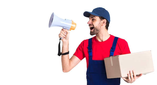 Hard worker courier man shouting into megaphone Free Photo