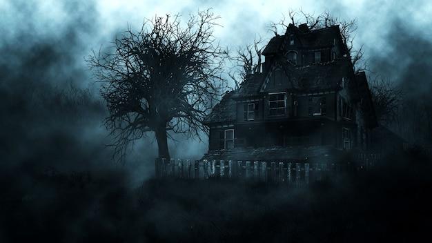 소 름 끼치는 밤 숲에서 유령의 집 프리미엄 사진