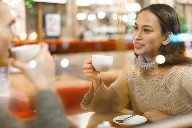 Having tea in cafe Free Photo