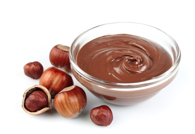 Hazelnut cream with hazelnut nuts Premium Photo