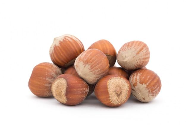 Hazelnuts isolated on white Premium Photo