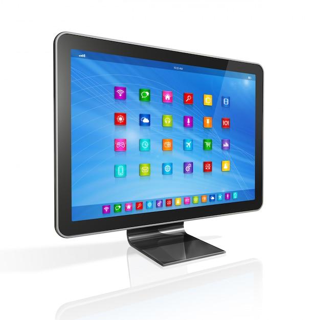 Hd tv, компьютер, интерфейс приложений иконки Premium Фотографии