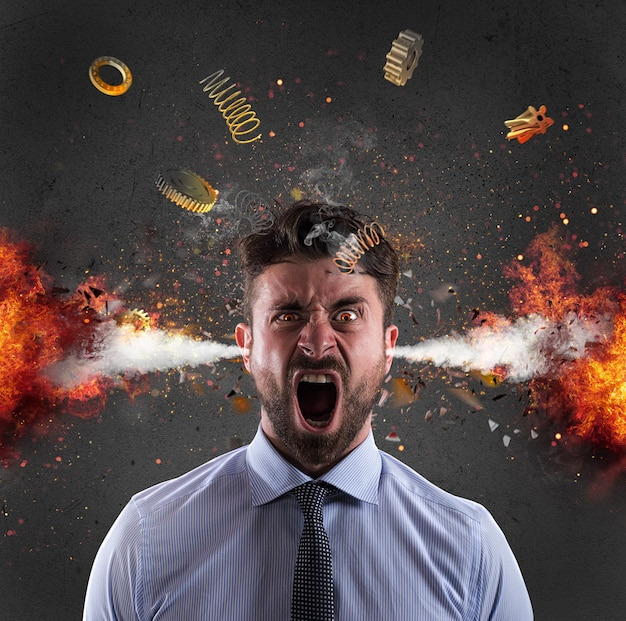 Head explosion of a businessman. concept of stress due to overwork Premium Photo
