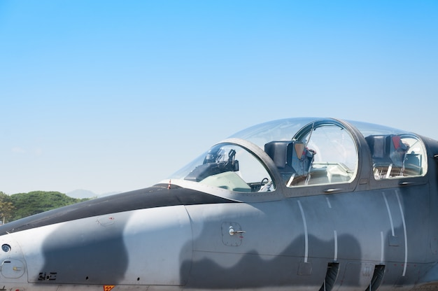 Head f-16 fighter jet plane of royal air force Premium Photo