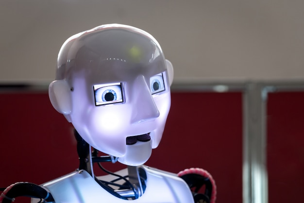 Head and lightning eyes of humanoid robot Premium Photo