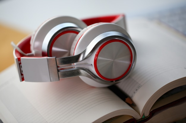 Headphones are on the table in the office Premium Photo