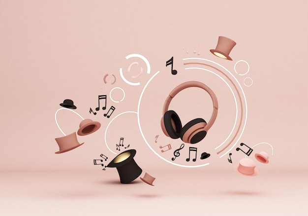 Headphones with music notes and hats on pink Premium Photo