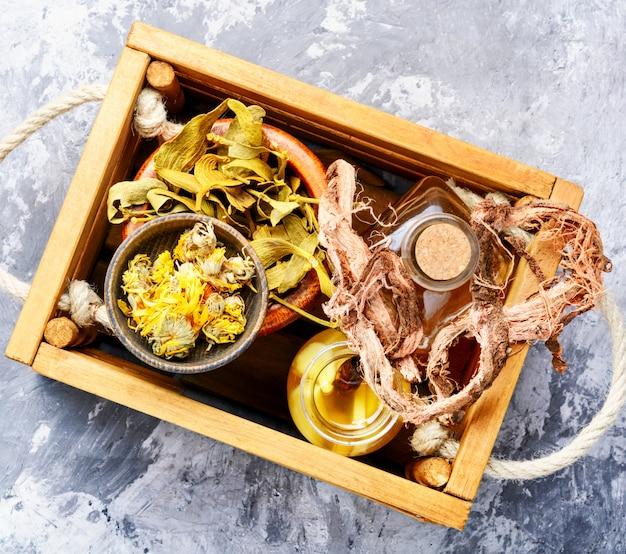 Healing herbs in wooden box Premium Photo