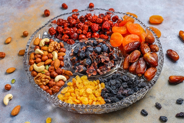 Healthy assortment dry fruits,top view Free Photo