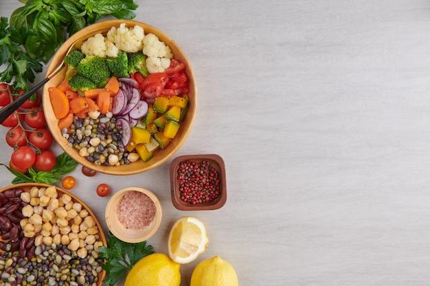Healthy balanced vegetarian food top view Free Photo