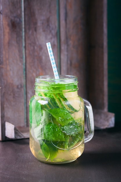 Healthy beverage with lemon slices
