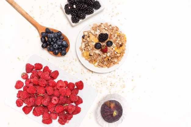 Healthy breakfast. food cereal concept with fresh fruits Premium Photo