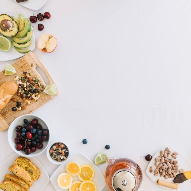 Healthy breakfast on white background Free Photo