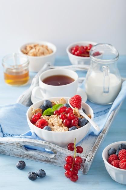 コーンフレークとベリーの健康的な朝食 Premium写真
