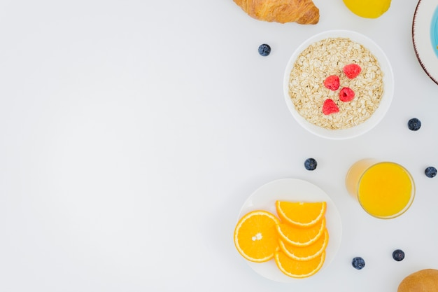 Healthy breakfast with fruits Free Photo