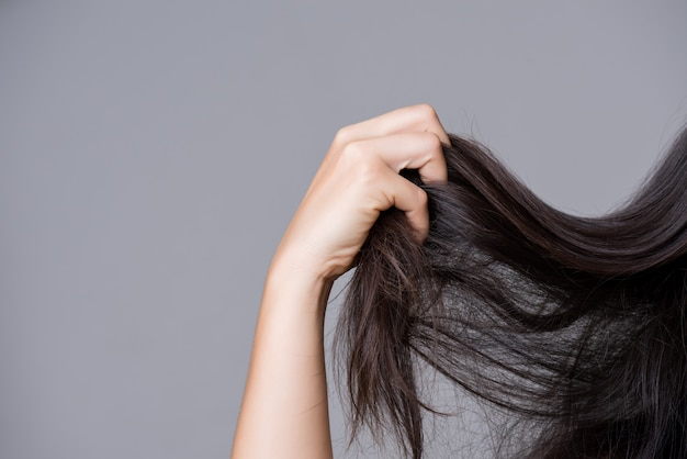 Healthy concept. woman hand holding damaged long hair Premium Photo