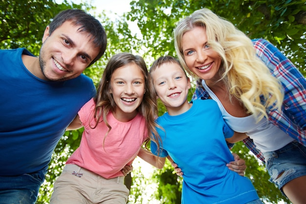 Healthy family laughing Free Photo