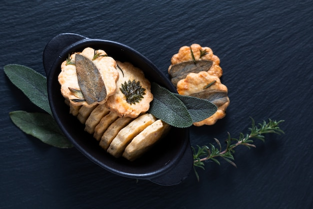 Healthy food concept homemade organic savory mix herbal shortbread cookies with copy space Premium Photo