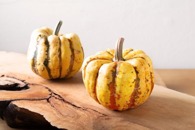 Концепция здорового питания органические сладкие клецки тыквы тыквы на дереве Premium Фотографии