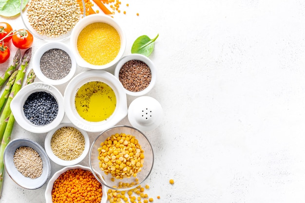 Healthy food concept with healthy ingredients Premium Photo