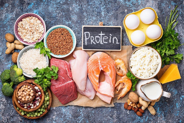 Healthy food high in protein Premium Photo