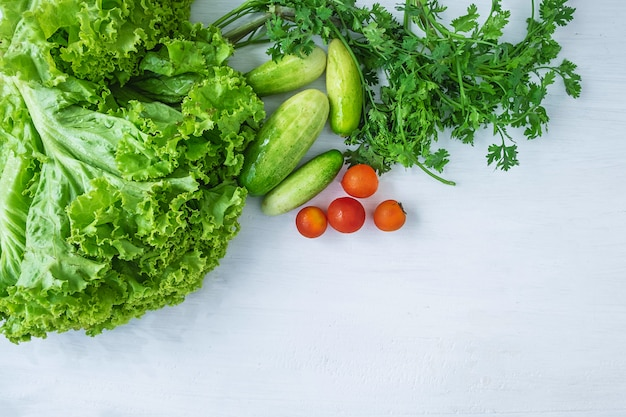 Healthy food. vegetables  on a white  wooden background Premium Photo