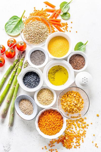 Healthy food with healthy ingredients Premium Photo