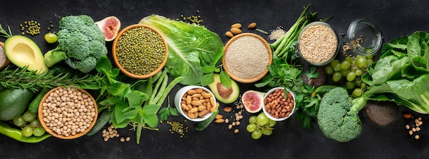 Healthy food with vegetables, cereals high in protein and other greens Premium Photo
