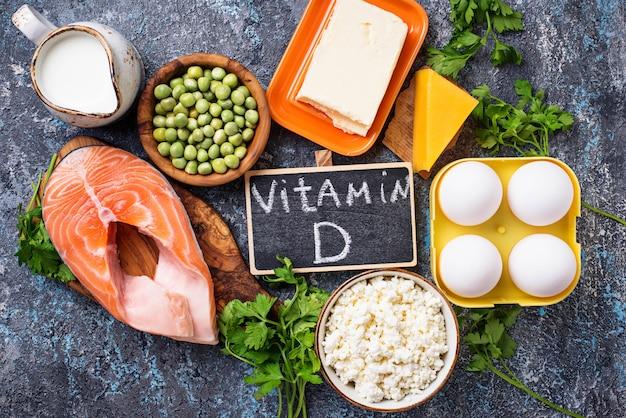 Healthy foods containing vitamin d Premium Photo