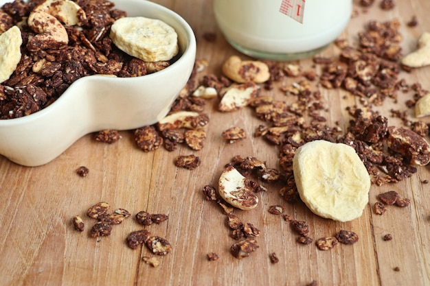 Healthy granola with cashew Premium Photo