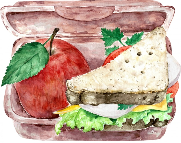 Healthy green school lunch box isolated on white with whole-grain bread and red apple. watercolor illustration. Premium Photo