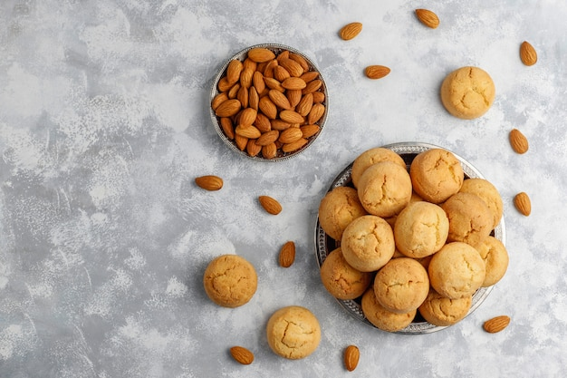 Healthy homemade almond cookies on concrete ,top view Free Photo