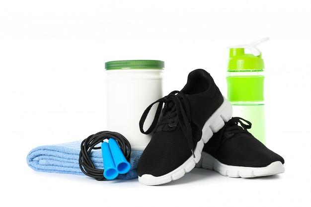 Аксессуары для здорового образа жизни, изолированные на белом Premium Фотографии