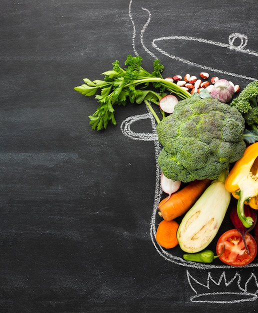 Healthy lifestyle meal in chalk pot Free Photo