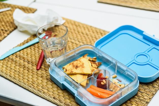 Healthy lunch of children in a school Premium Photo