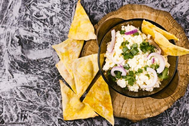 Healthy mexican food with nachos top view Free Photo