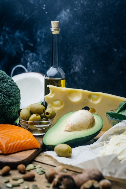 Healthy nutrition with low carbs hight fat products Premium Photo