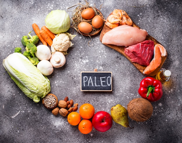 Healthy products for paleo diet Premium Photo