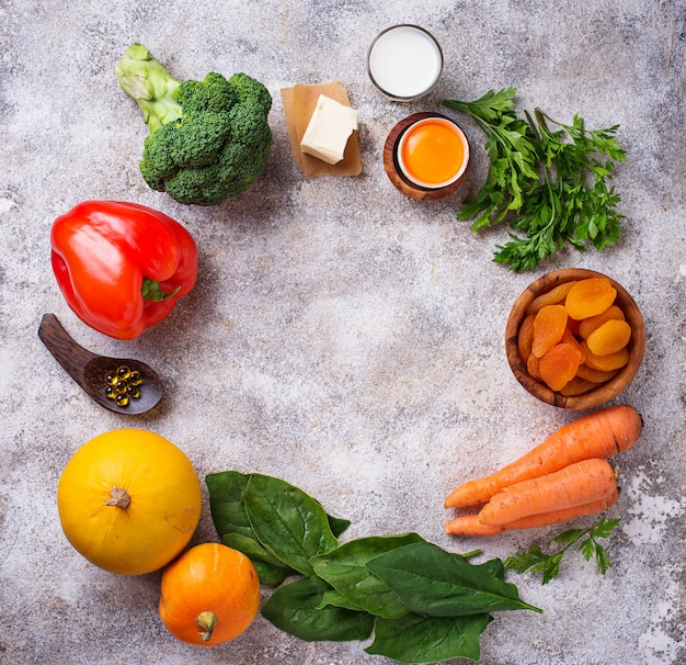 Healthy products rich in vitamin a Premium Photo